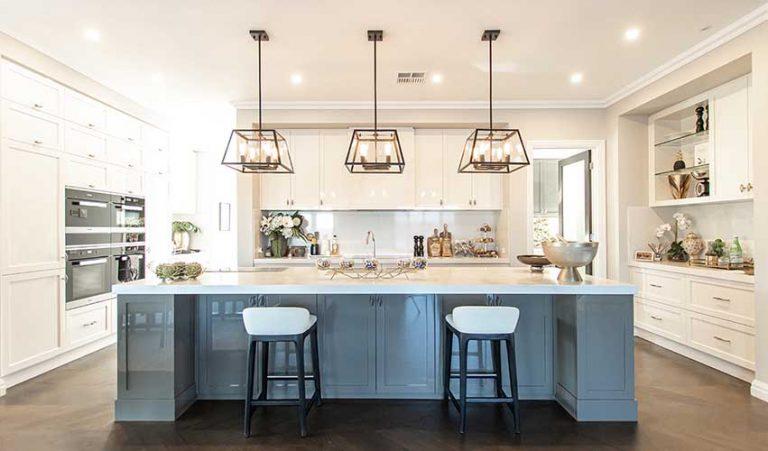 Modern high end kitchen with breakfast bar