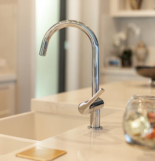 Chrome kitchen mixer tap